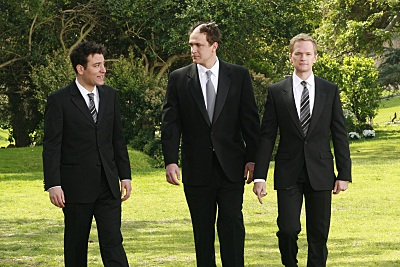 File:Ted and Barney with Marshall on his wedding.jpg