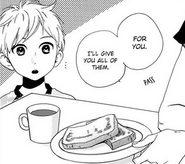 Daichi being given Mamura's breakfast