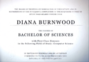 Diana's degree from Oxford University