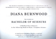 Diana's degree from Oxford University