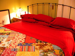 Red hot flannel sheets from Christmas.
