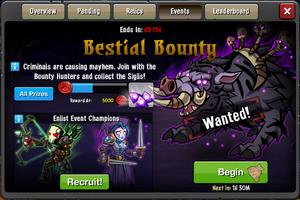 Event Bestial Bounty window
