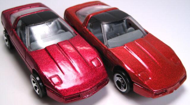 File:80s corvette color difference met red versus orange pearl.JPG