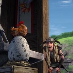 Gallina incubando el huevo de Garf