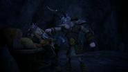 Dagur threatens Tuffnut with his axe