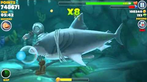 Hungry shark evolution, all 15 sunken (hidden) object locations found in one swim using Megalodon-2