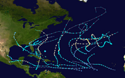 2012 Atlantic hurricane season summary map