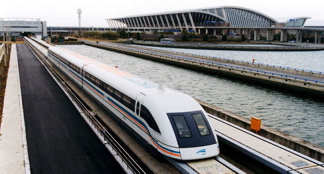 File:A maglev train coming out, Pudong International Airport, Shanghai.jpg