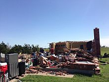 EF3 damage from 2013 El Reno tornado