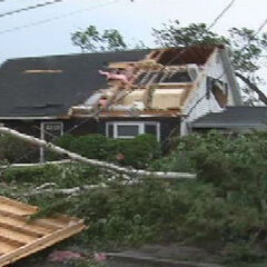 Some damage from the Second Greensburg EF1