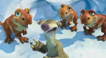Sid playing with baby dinos
