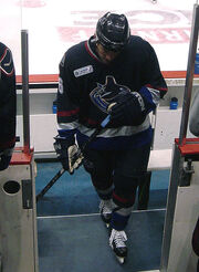 An ice hockey player dressed in a black jersey. He is walking on the players' bench and looking downwards.