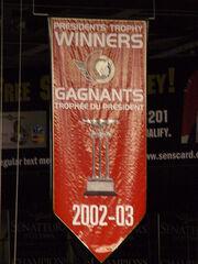 Ottawa Senators Presidents Trophy Banner