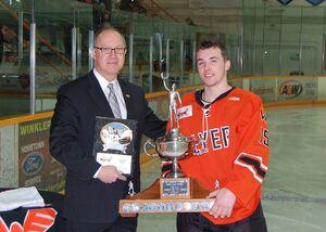 Tristan Keck receives Vince Leah Memorial Trophy