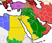 United Arab Republic in 2112, denoting Egyptian (yellow) and Syrian (green) jurisdictions
