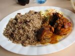 Rice and Beans, Stew Chicken and Potato Salad - British Mexico