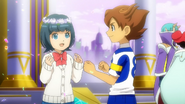 Tenma giving his flower crown to Aoi EP43 HQ