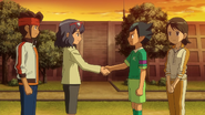 Haruna and Kogure shaking hands at the end of the match