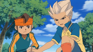 Gouenji figuring out how to use Inazuma Otoshi