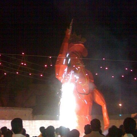 Effigy of Ravana burnt on Dasara.
