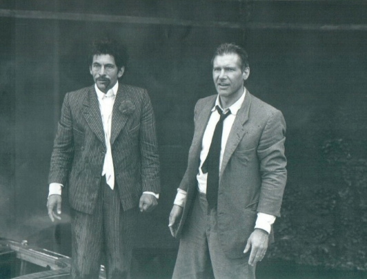 File:Dickey Beer with Harrison Ford on-set of Last Crusade.jpg