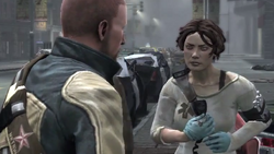 Cole and Trish during Nemesis Revealed mission in inFamous