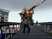Delsin Blowing Up a Tower