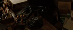 Rotary dial phone in Shosanna's office