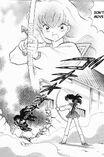 Angry kagome pointed naraku with arrow