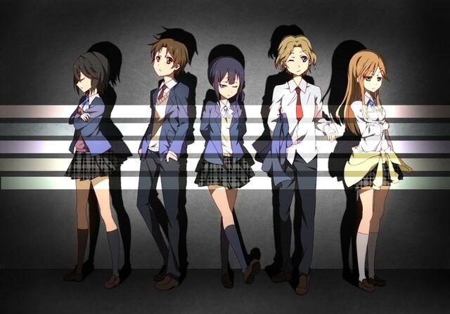 File:Brunettes blondes school uniforms tie skirts long hair brown eyes black eyes anime boys anime girls www.wallpaperfo.com 43.jpg