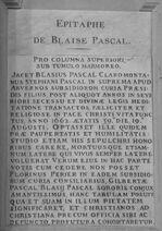 Epitaph Blaise Pascal Saint-Etienne