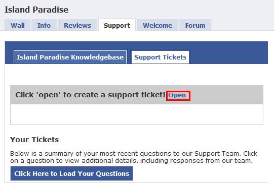 Support open ticket