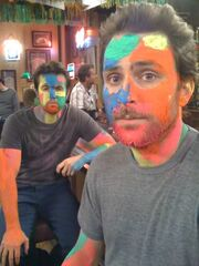 Mac and Charlie on the set