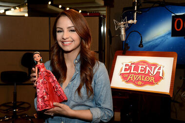 Aimee Carrero with an Elena of Avalor Doll