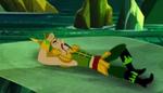 Lying on rock