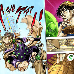 D-I-S-C-O using his Stand to deflect Gyro's Steel Ball
