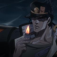 Jotaro lighting a cigarette
