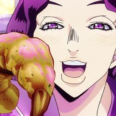 Yukako lovingly feeding a shrimp to Koichi.