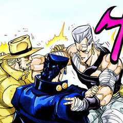 Polnareff bidding goodbye to Jotaro and Joseph after defeating DIO