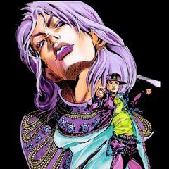 Dio in a re-imagined design, alongside Jotaro in Araki's recent style