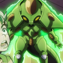 Koichi surprised at his Stand's newest evolution, Echoes ACT2.