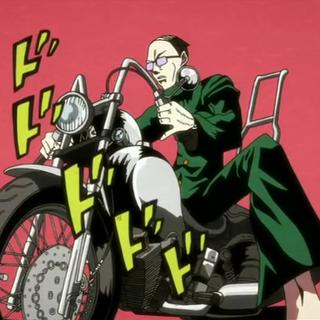Usui on a motorbike Jojo style