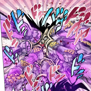 Star Platinum punching Nukesaku,