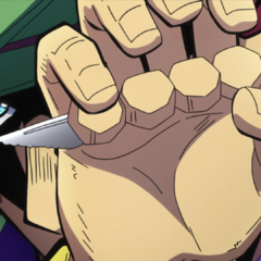 Toyohiro reveals the knife hidden in his calluses.