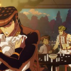 Josuke hiding the transforming Mikitaka from Rohan.