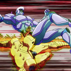 Killer Queen sweeps Crazy Diamond's legs.