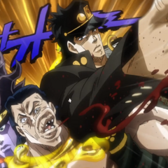 Jotaro punching Rubber Soul while Star Platinum holds him