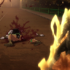 DIO's body destroyed by <i>Star Platinum</i>'s fatal blow