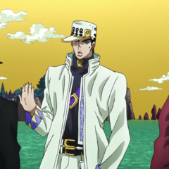 Shizuka being held by Joseph while Jotaro is talking to a <a href=