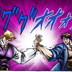 Jonathan and Dio confronting each other